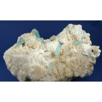 Aquamarine on Microcline and Albite