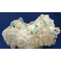 Aquamarine on Microcline and Albite