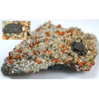 Helvite with Spessartite and Quartz