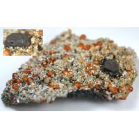 Helvite with Spessartite and Quartz
