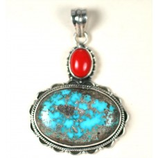 Turquoise and Coral in Sterling Silver