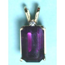 Amethyst with Diamond in 14Kt Gold