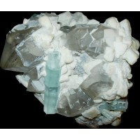 Aquamarine on Quartz and Feldspar