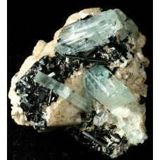 Aquamarines on feldspar with Schorlite