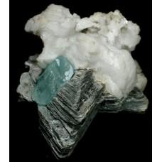 Aquamarine on Twinned Muscovite and Albite