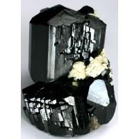 Tourmaline, var. Schorlite (Schorl) with Albite crystals