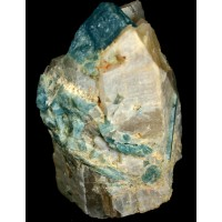 Beryl, var. Aquamarine on Quartz