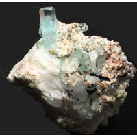 Beryl, var. Aquamarine on Microcline