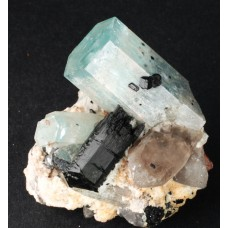 Beryl, var. Aquamarine with Schorl Tourmaline and Quartz
