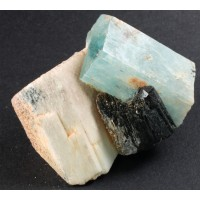 Beryl, var. Aquamarine with Schorl Tourmaline and Microcline
