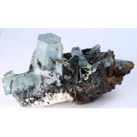 Beryl, var. Aquamarine with Schorl Tourmaline and Orthoclase