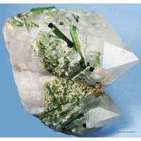 Tourmaline var. Elbaite on Quartz crystals