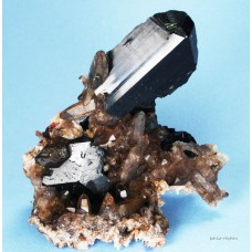 Black Tourmaline (Schorlite or Schorl) with Smoky Quartz