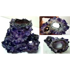 Amethyst Cast after Aragonite crystals in core