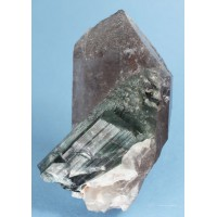 Tourmaline var. Elbaite on Smoky Quartz