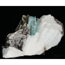 Beryl, var. Aquamarine on Orthoclase with Muscovite