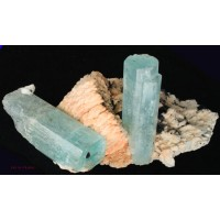 Beryl, var. Aquamarine on Orthoclase with Schorl Tourmaline