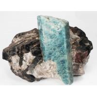 Beryl, var. Aquamarine in Biotite with Columbite