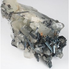 Stibnite on Calcite