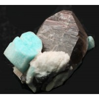 Amazonite with Albite and Smoky Quartz