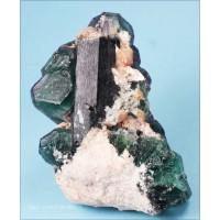 Fluorite on Schorl Tourmaline