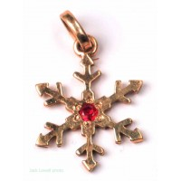 Snowflake with Ruby (14Kt gold)